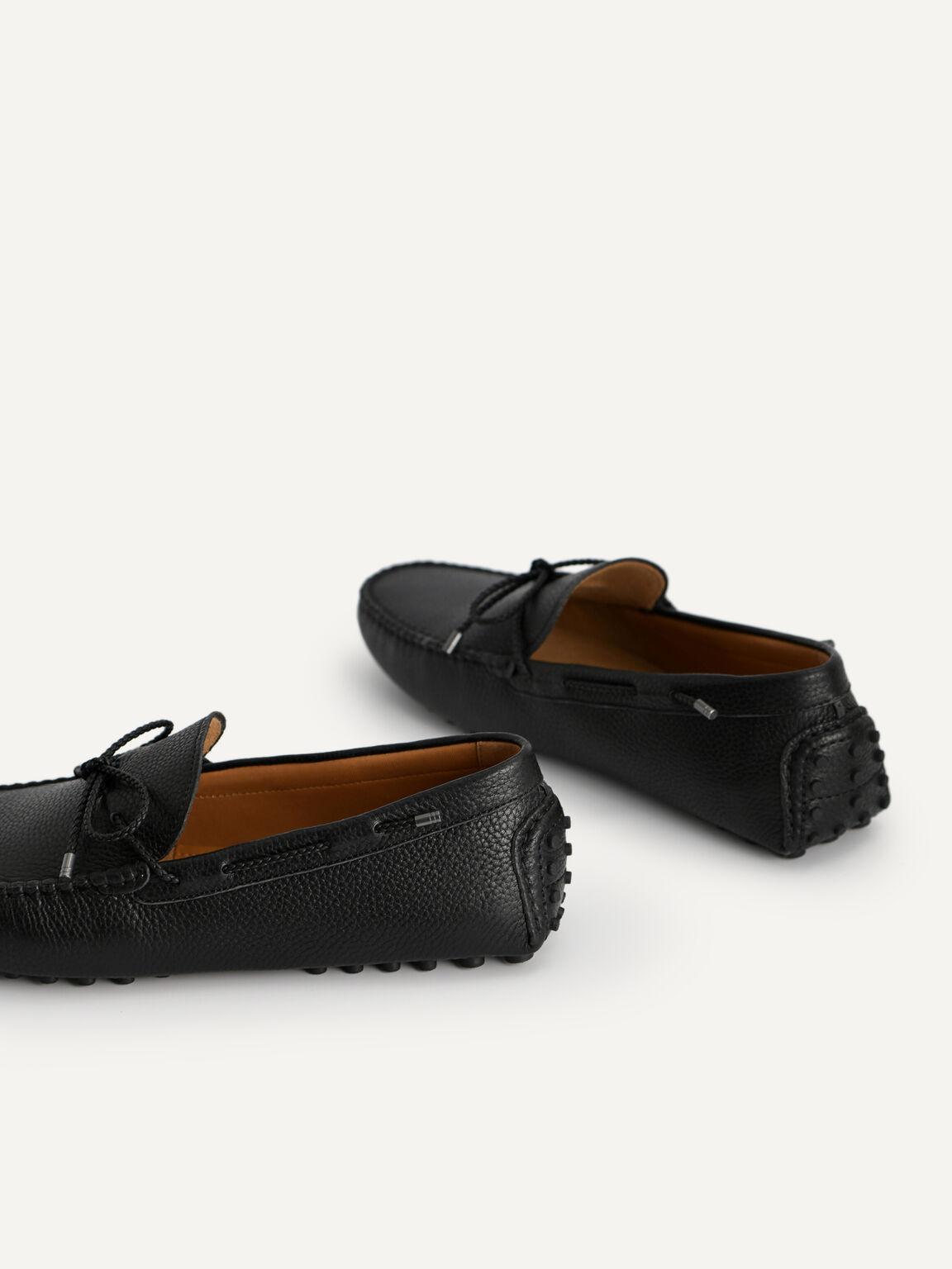 蝴蝶結織紋莫卡辛鞋, 黑色, hi-res