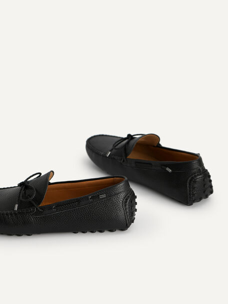 Textured Moccasins with Bow, Black, hi-res