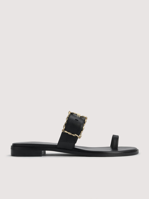 Toe Loop Sandals with Gold Buckle, Black, hi-res