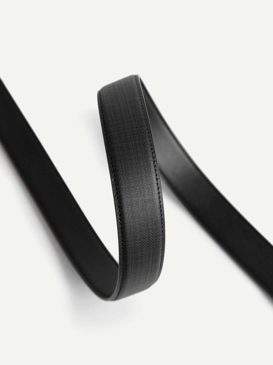 織紋皮革自動扣皮帶, 黑色, hi-res