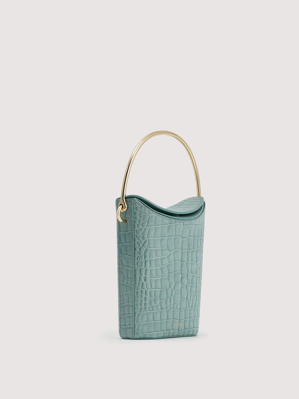 Embossed Leather Bucket Bag, Aqua, hi-res