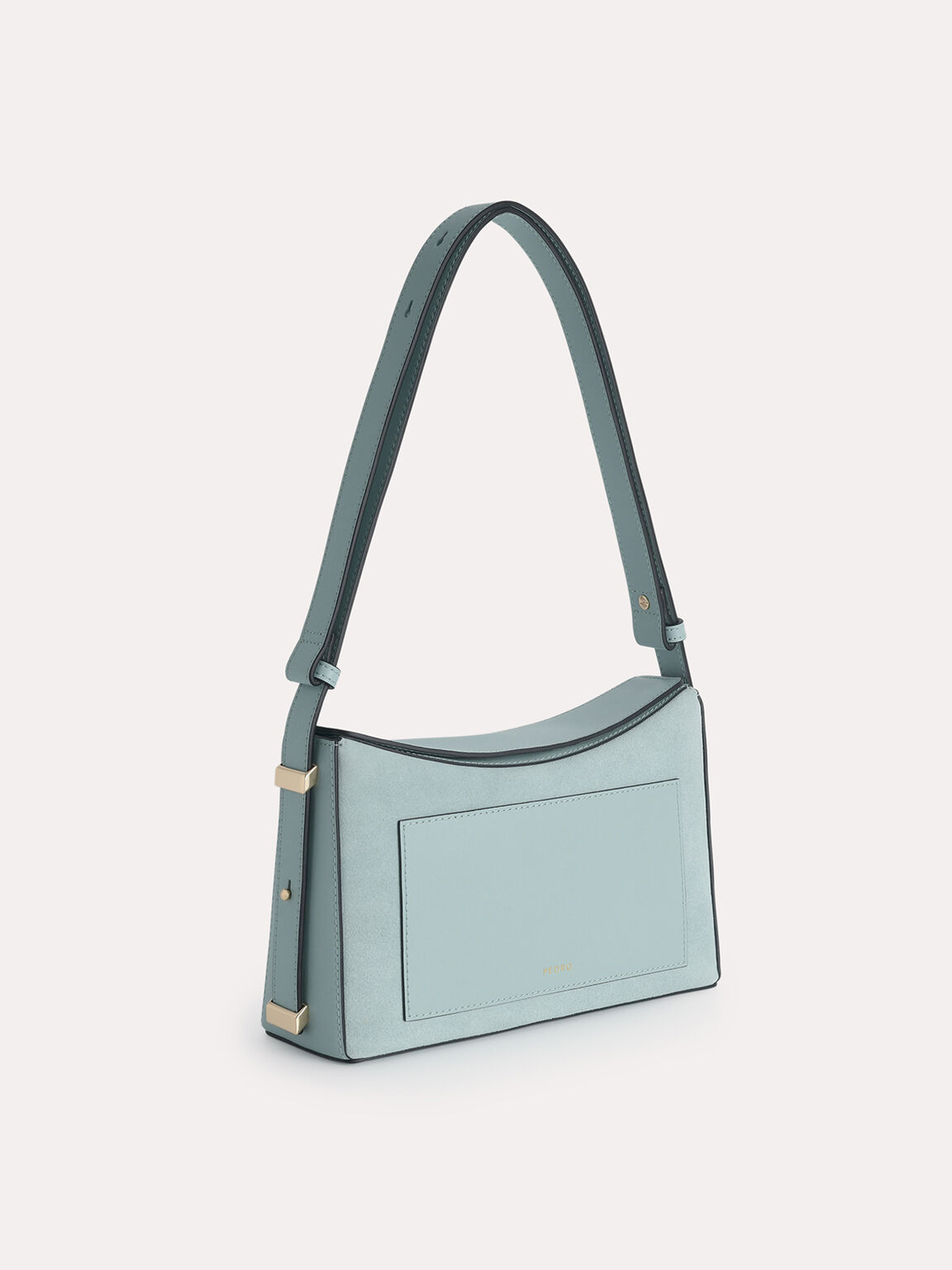 Leather Shoulder Bag, Slate Blue, hi-res
