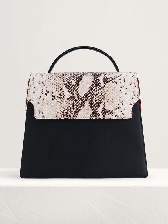 Snake-Effect Top Handle Leather Bag, Multi, hi-res
