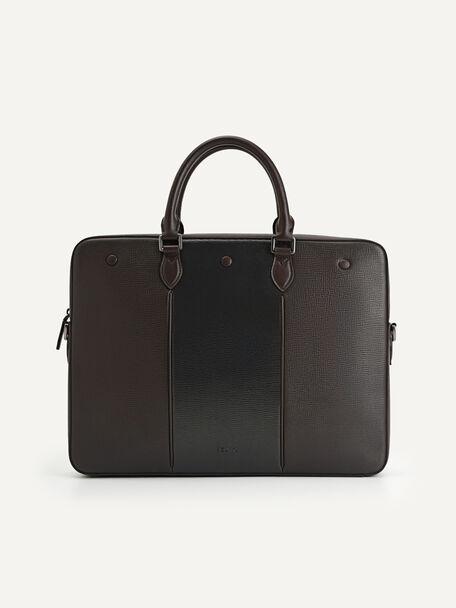 Textured Leather Briefcase, Dark Brown, hi-res