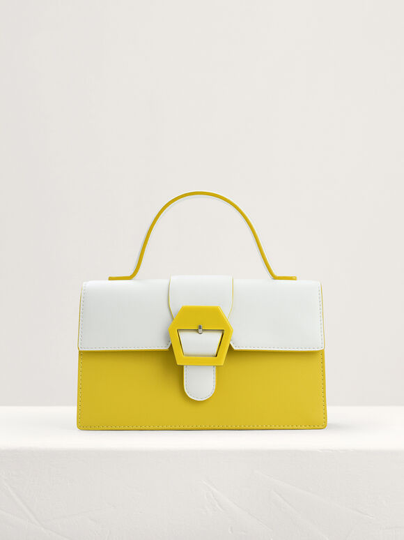 Mini Buckled Front Flap Bag in Two-Tone, Yellow, hi-res