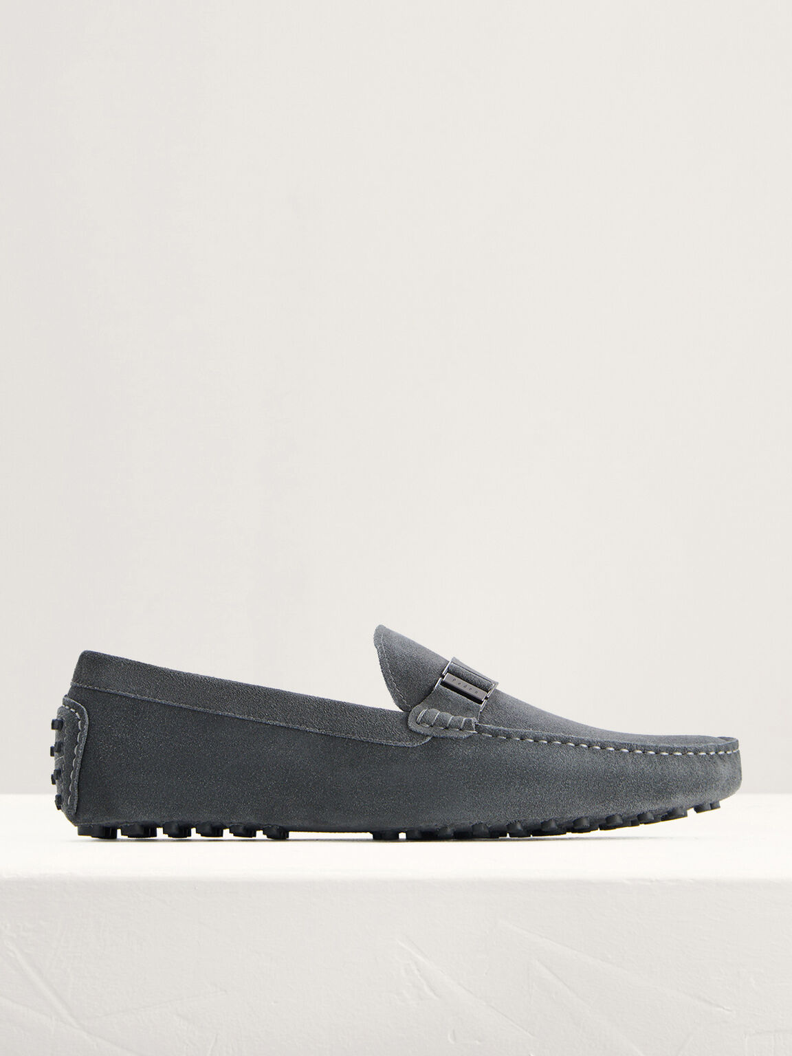 Side Buckled Suede Moccasins, Dark Grey, hi-res