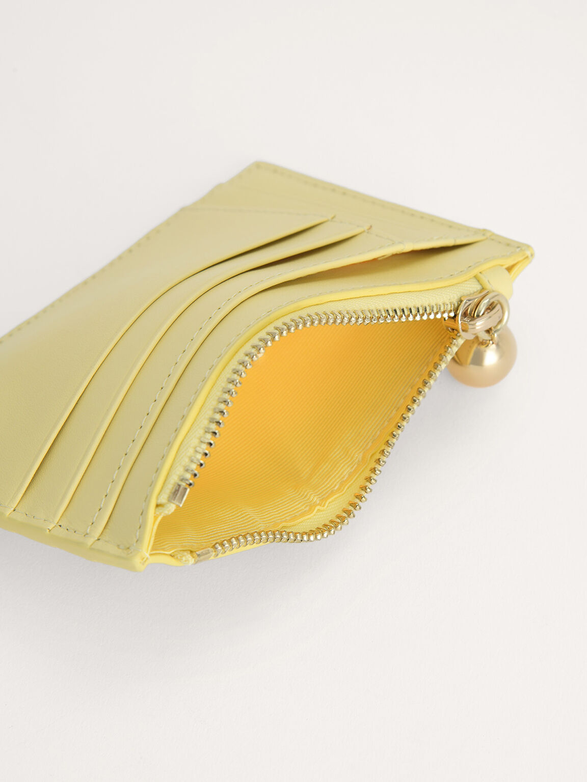 Leather Card Holder, Yellow, hi-res