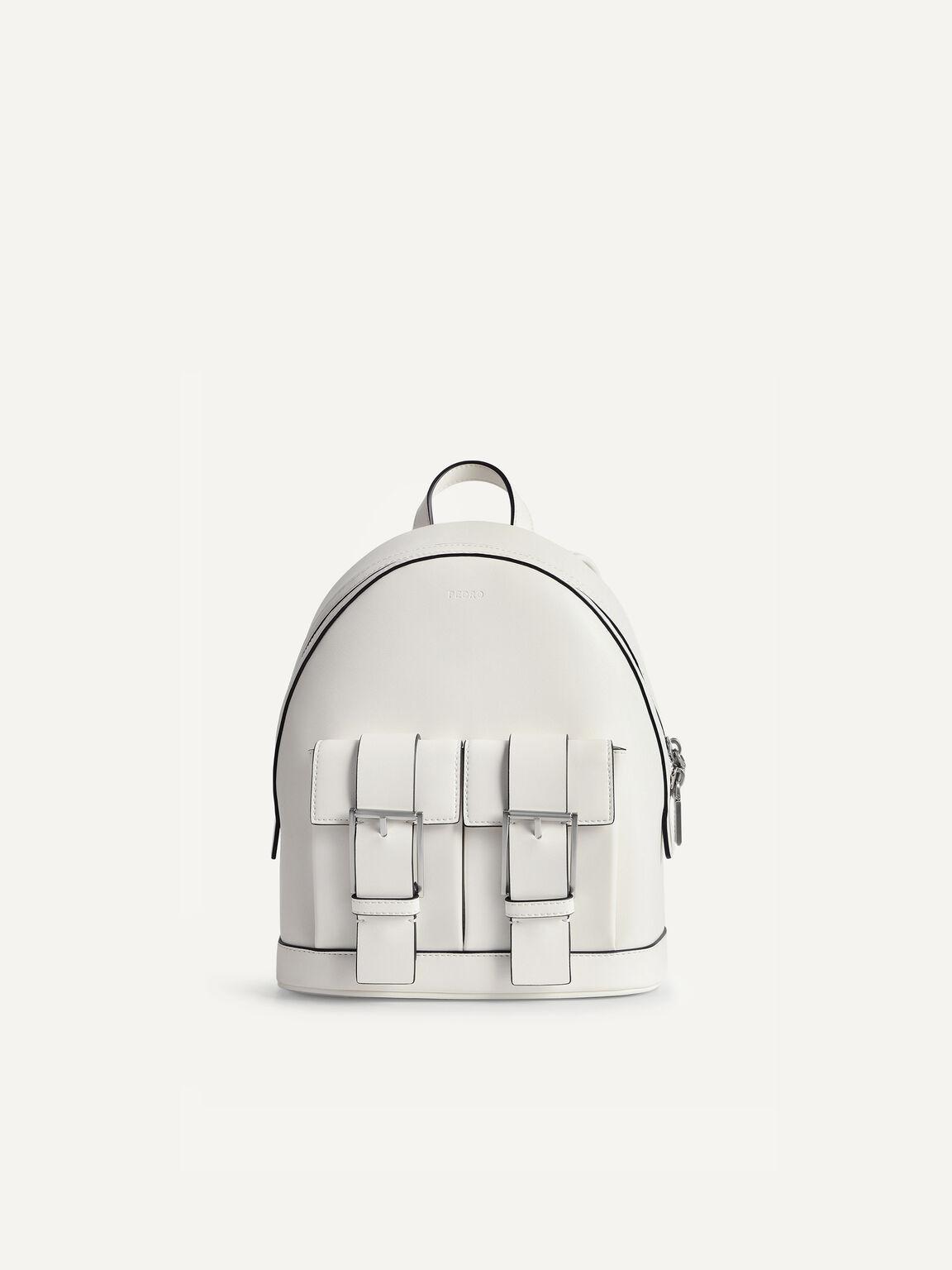 Backpack with Buckled Pockets, Chalk, hi-res
