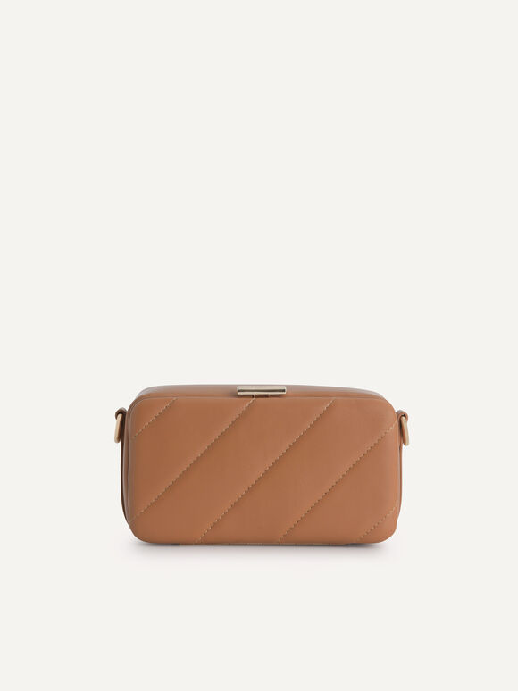 Quilted Boxy Shoulder Bag, Camel, hi-res