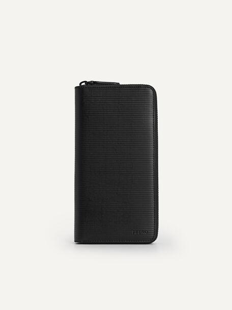 Textured Long Leather Wallet, Black, hi-res