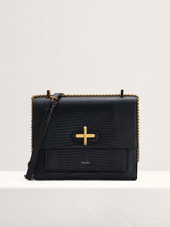 Lizard-Effect Shoulder Bag, Black, hi-res