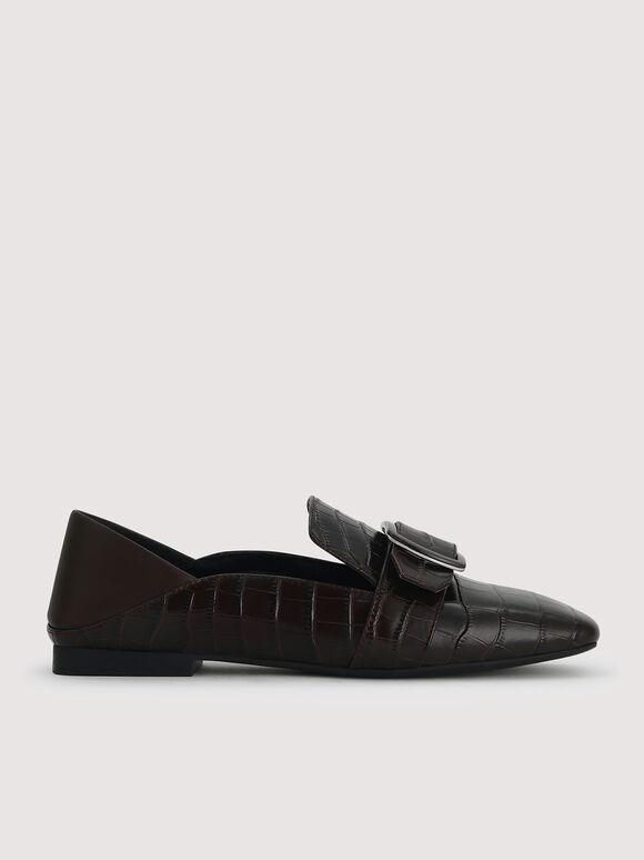 Embossed Leather Loafers, Dark Brown, hi-res