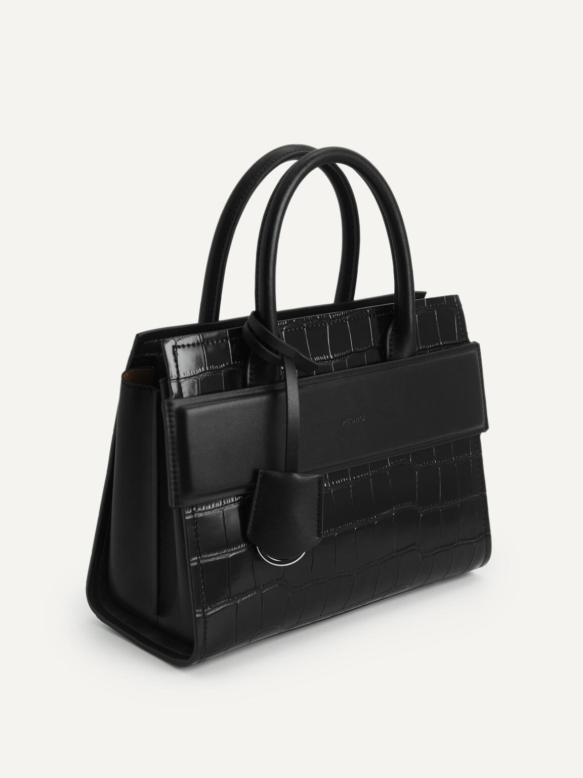 Croc-effect Leather Tote, Black, hi-res