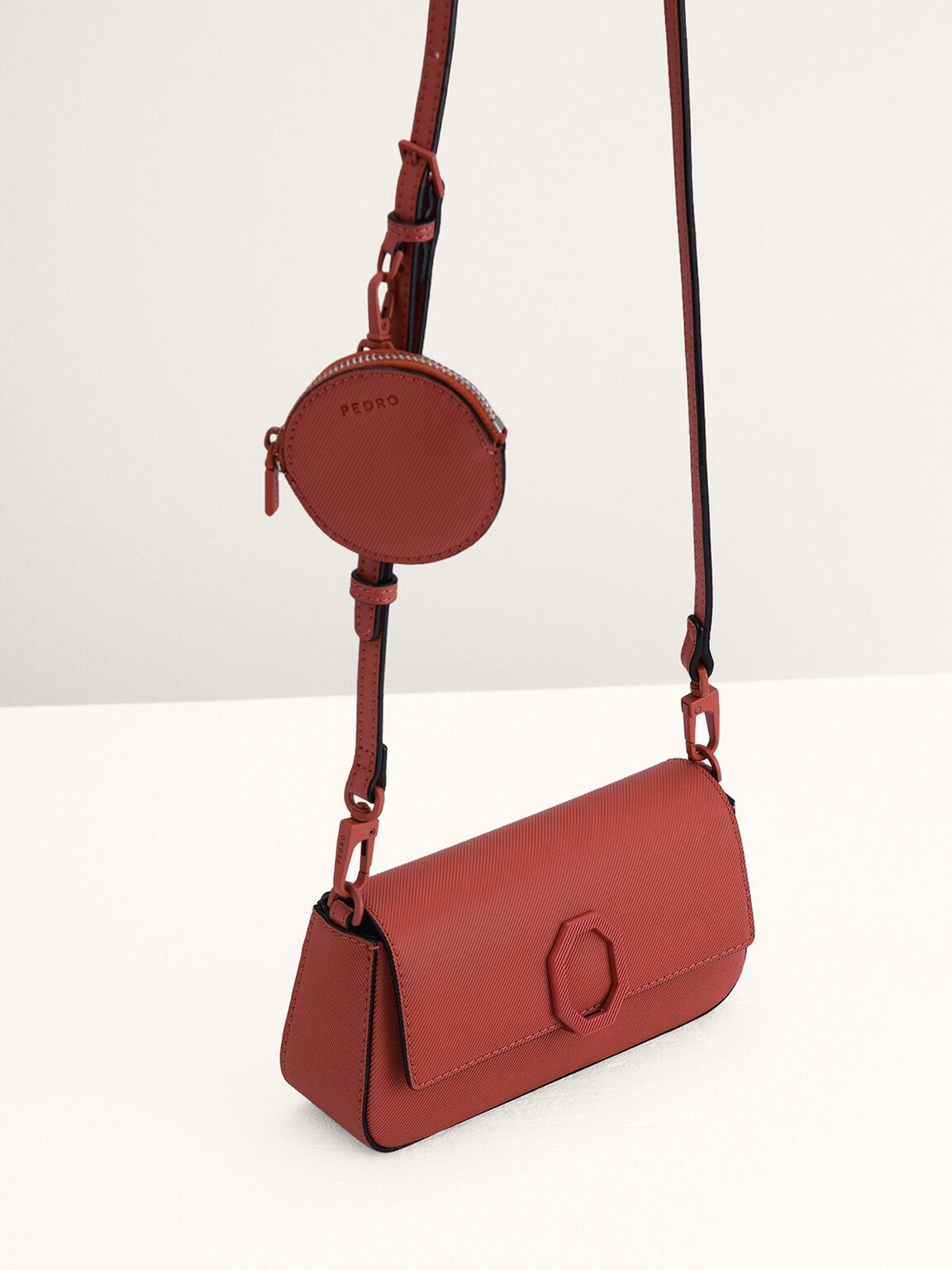 Leather Shoulder Bag, Brick, hi-res