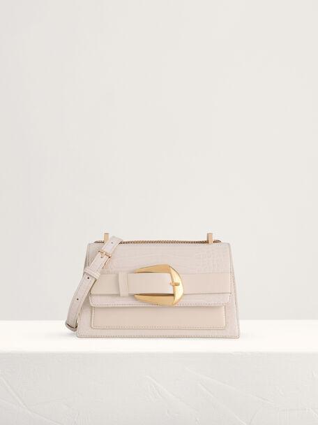 Buckled Croc-Effect Shoulder Bag, Chalk, hi-res