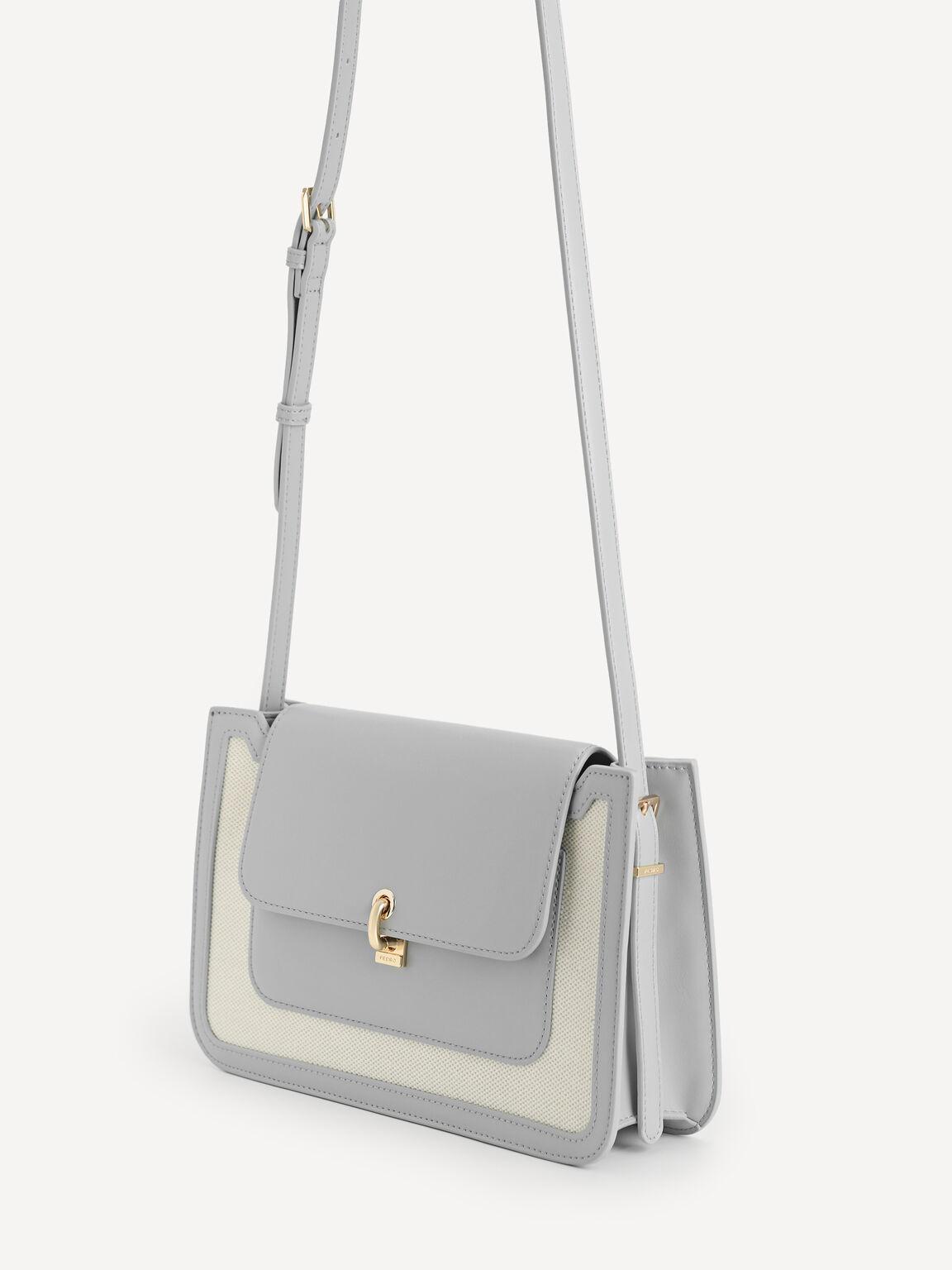 Canvas Shoulder Bag, Grey, hi-res