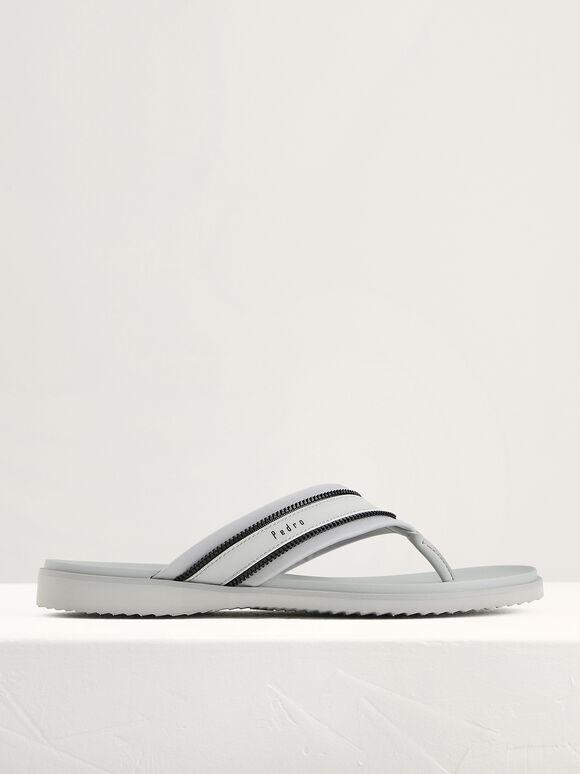 Casual Thong Sandals, Light Grey, hi-res
