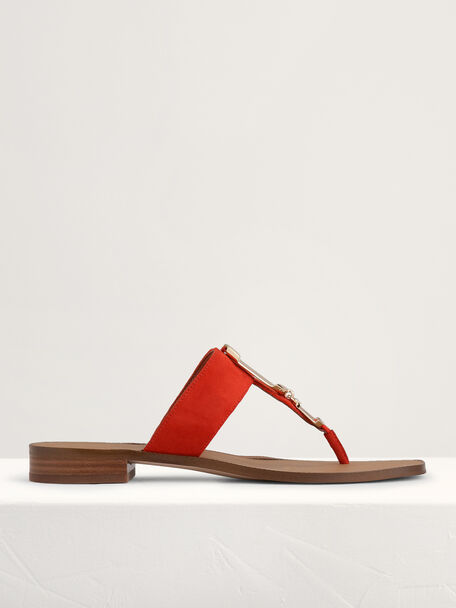 Suede Buckled Thong Sandals, Red, hi-res