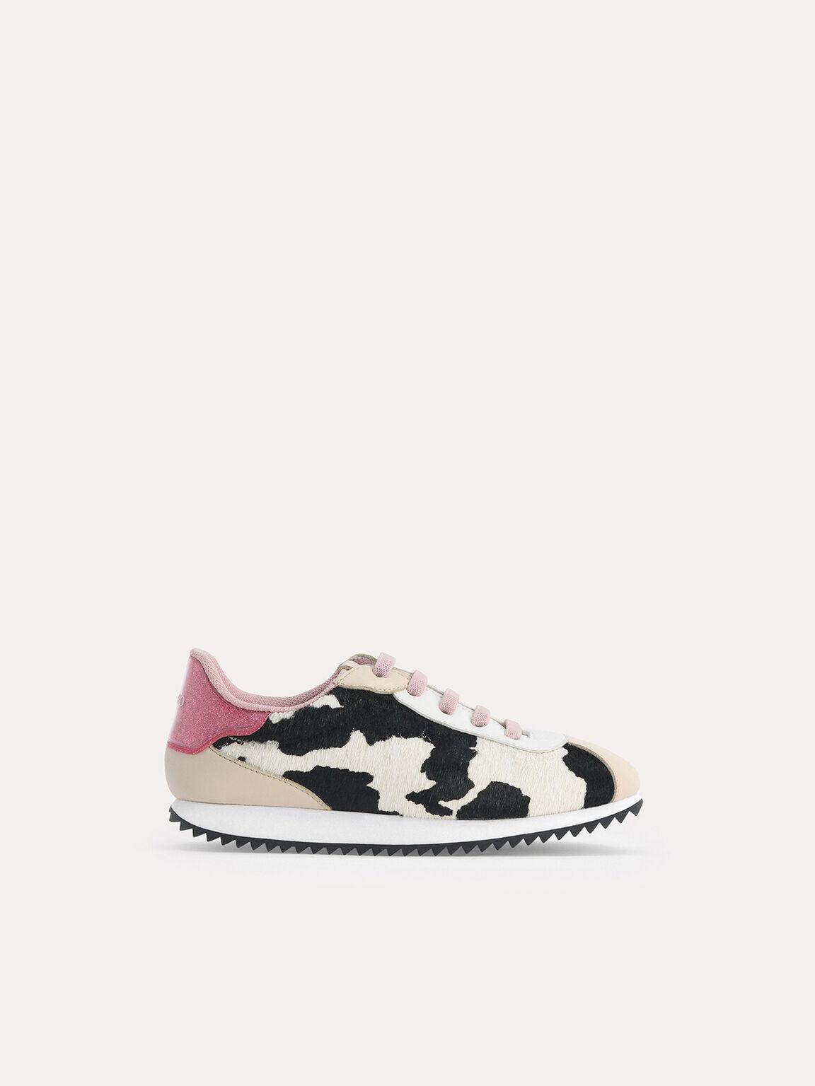 Cow Printed Sneakers, Sand, hi-res