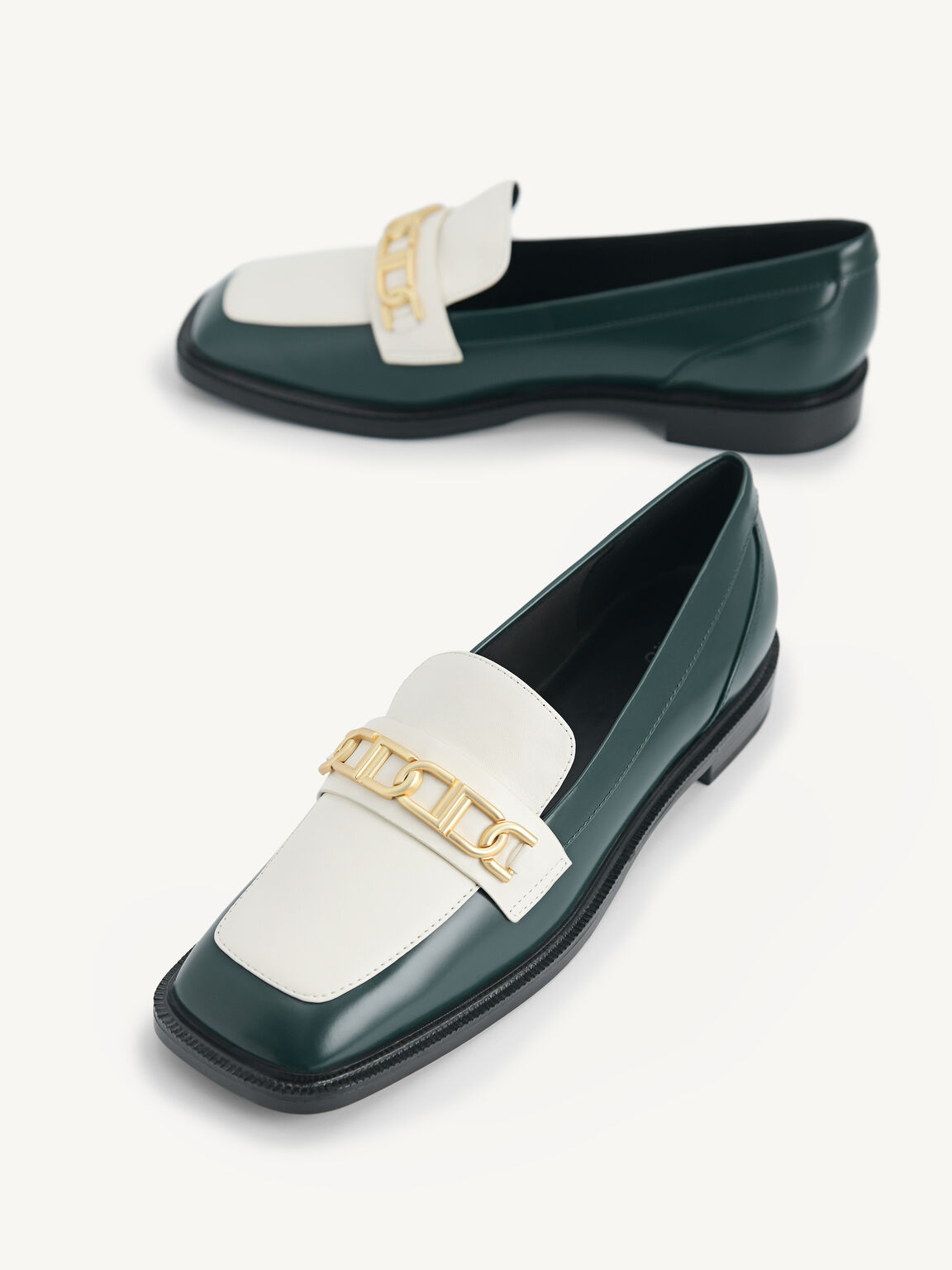 Icon Leather Square Toe Loafers, Dark Green, hi-res
