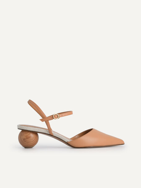 Leather Pointed Toe Heels, Camel, hi-res