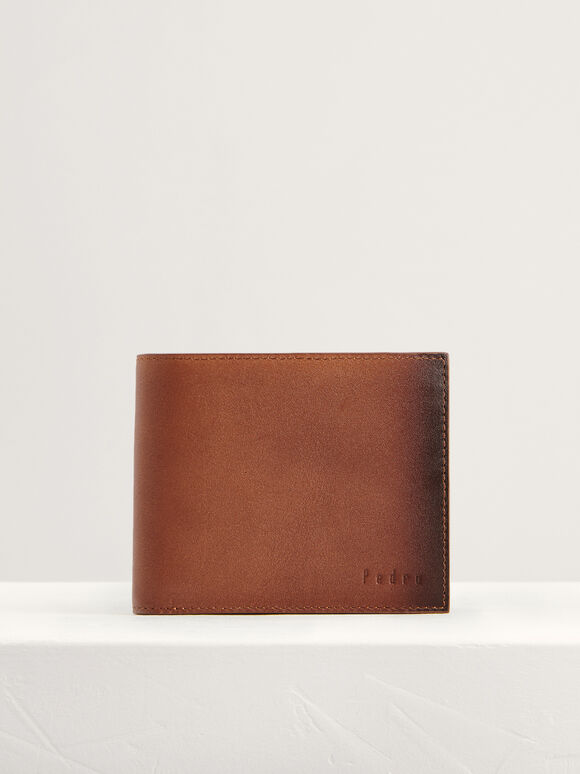 Leather Bi-Fold Flip Wallet, Cognac, hi-res