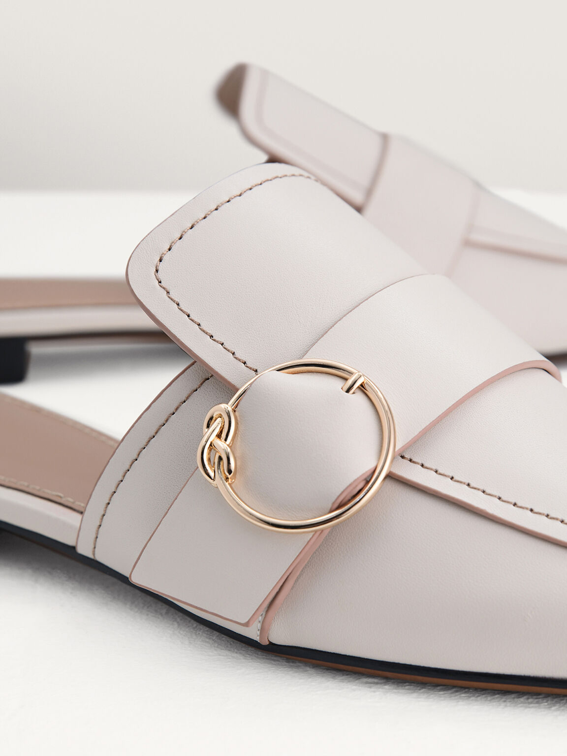 Buckle Embellished Mules, White, hi-res
