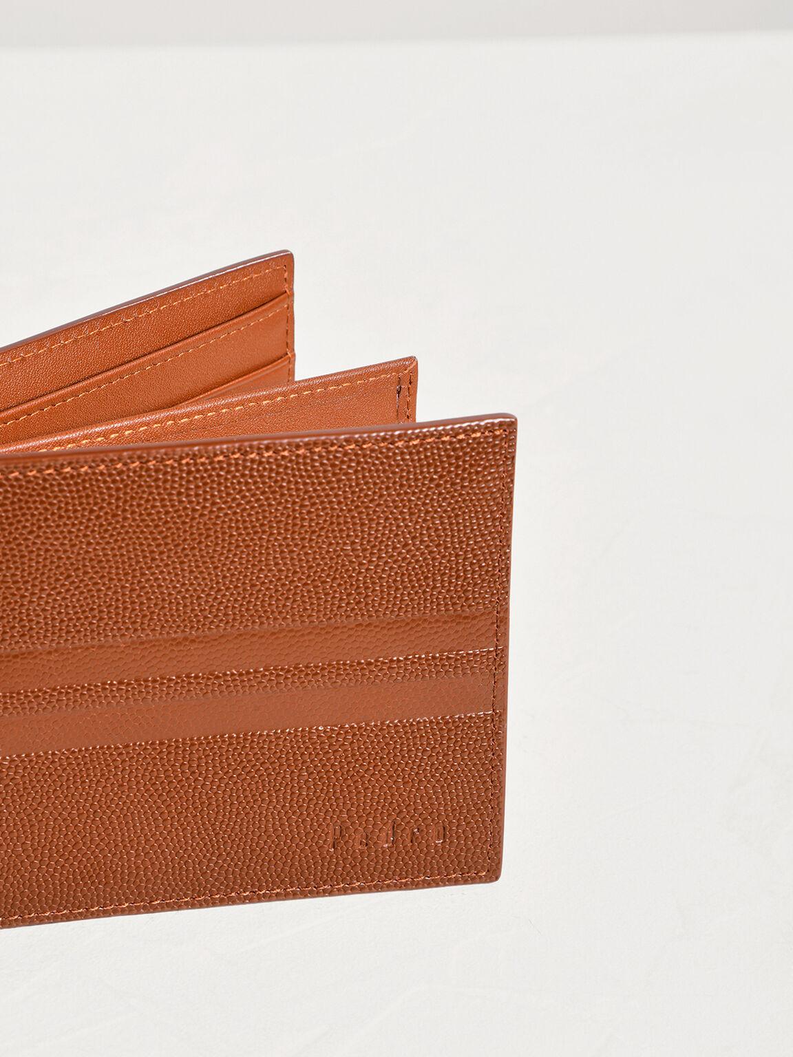 Striped Leather Bi-Fold Flip Wallet, Cognac, hi-res