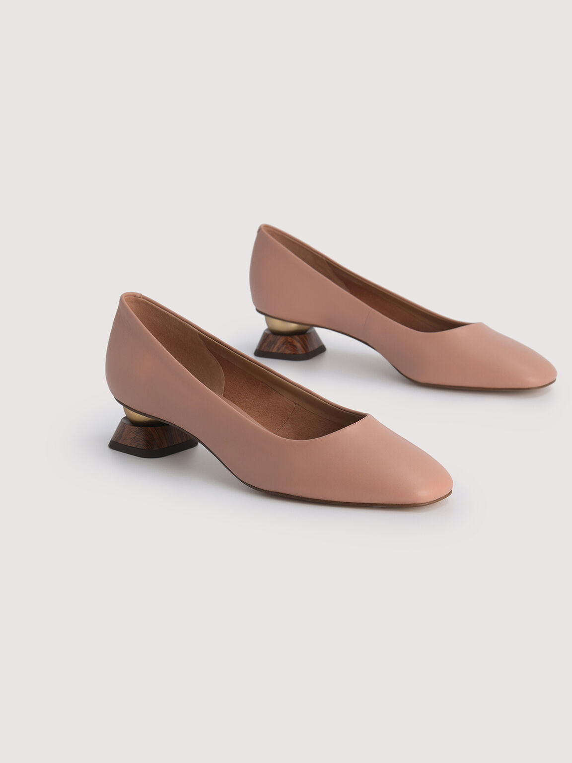 Leather Square Toe Heels, Nude, hi-res