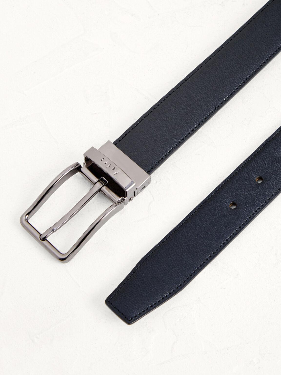 Reversible Leather Pin Belt, Black, hi-res