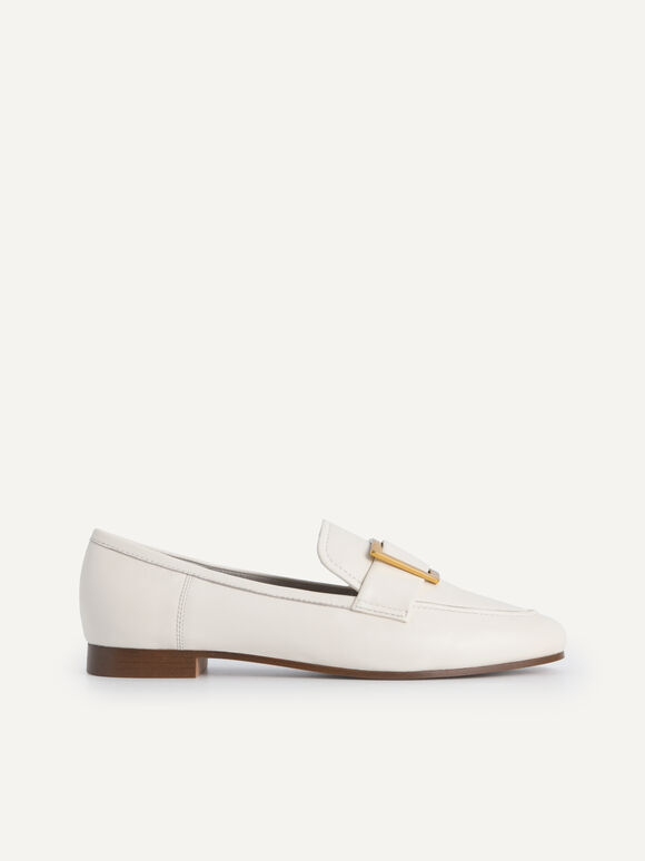 Leather Buckle Loafers, Chalk, hi-res