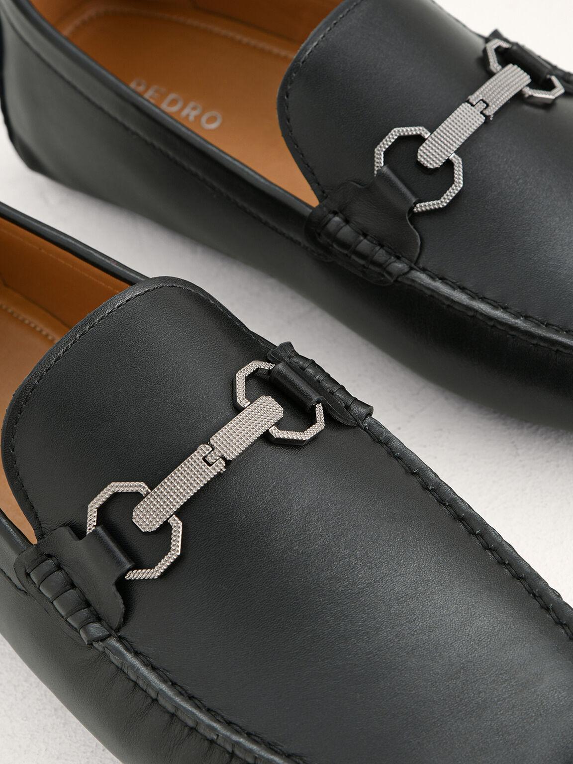 Leather Bit Moccasins, Black, hi-res