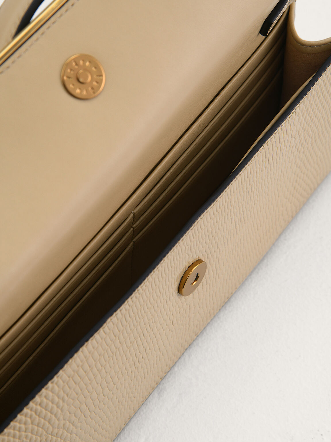 Lizard-Effect Leather Organiser, Beige, hi-res