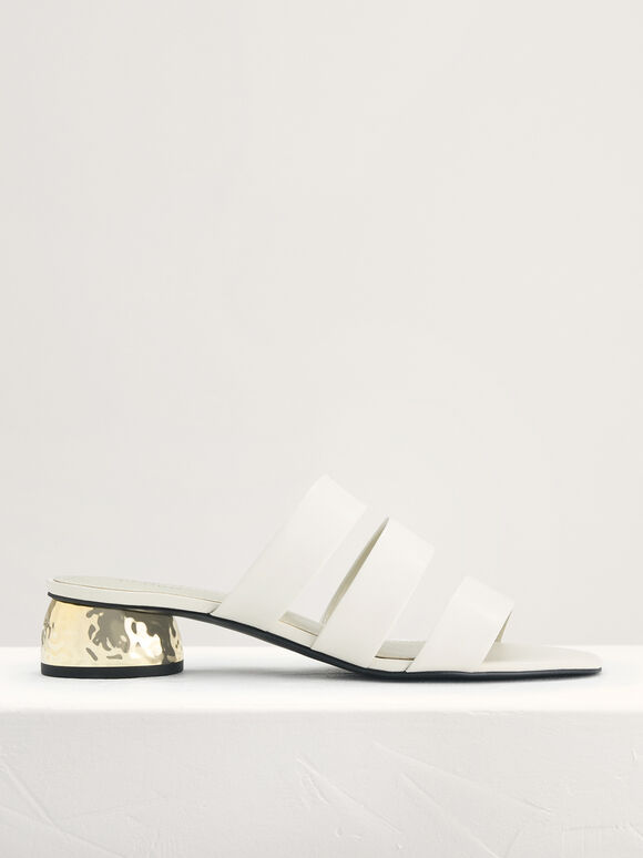 Strappy Heeled Sandals, Chalk, hi-res
