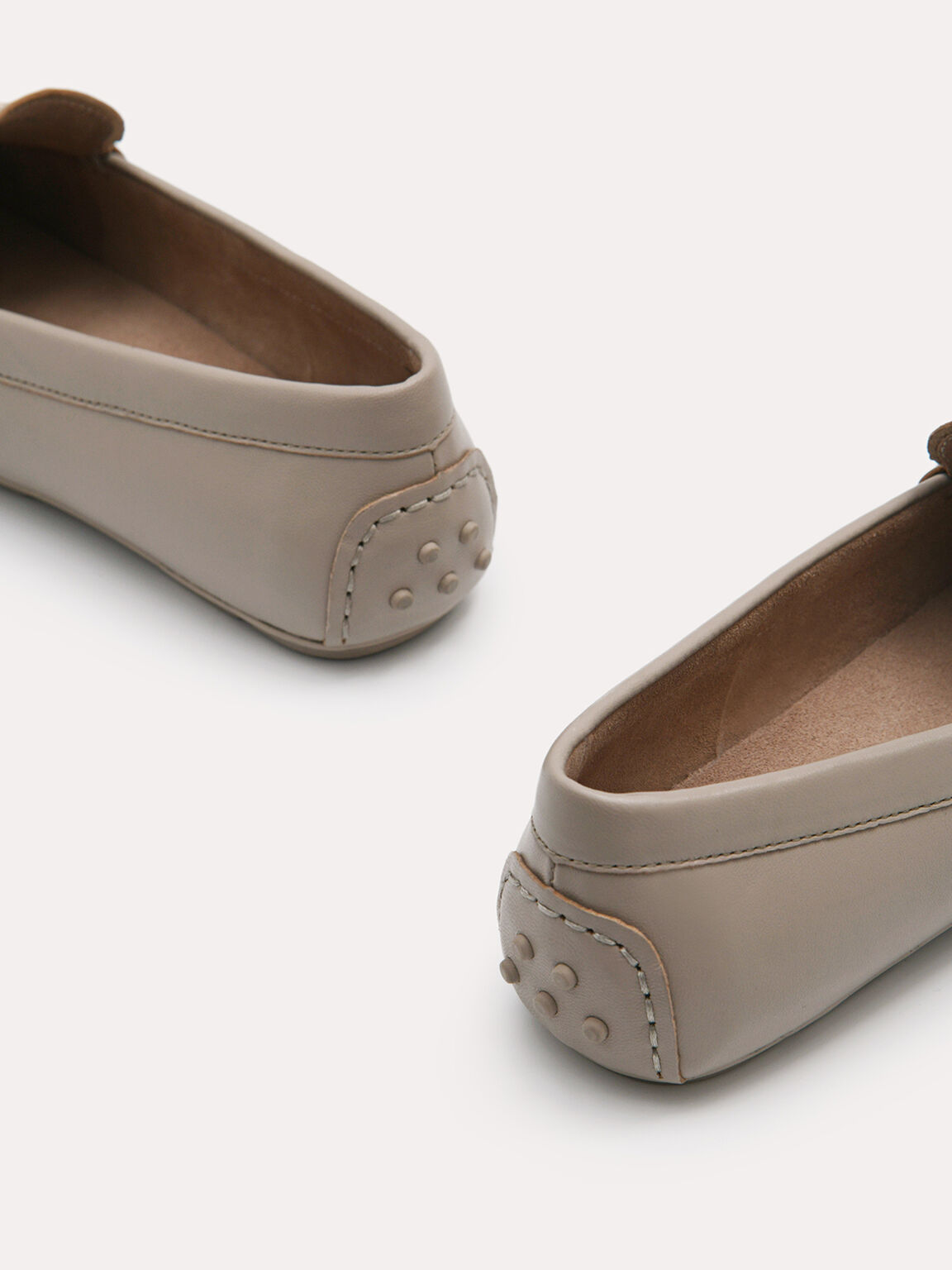 Leather Moccasins, Taupe, hi-res