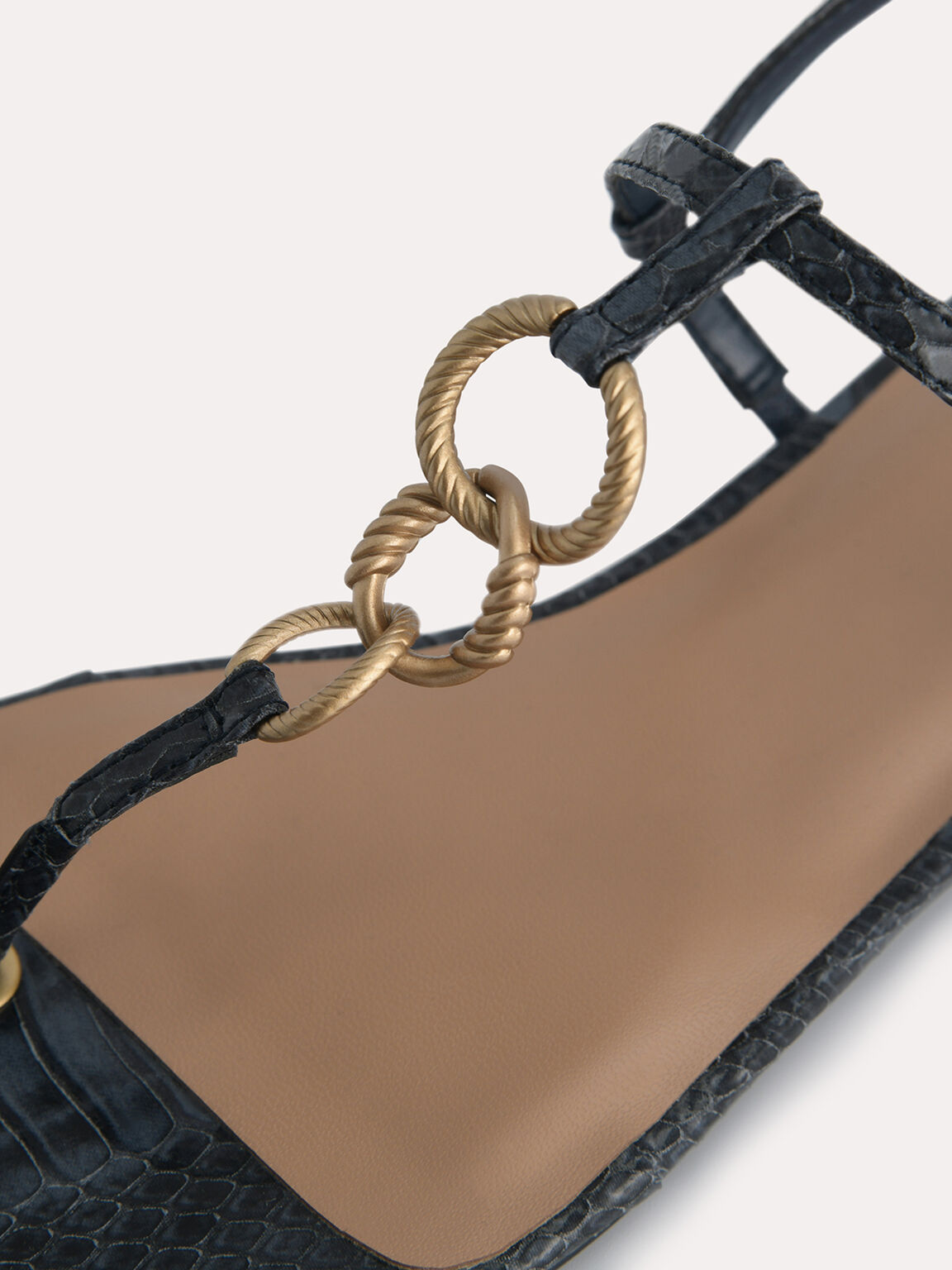Snake-Effect Strappy Sandals with Gold Links, Slate Blue, hi-res