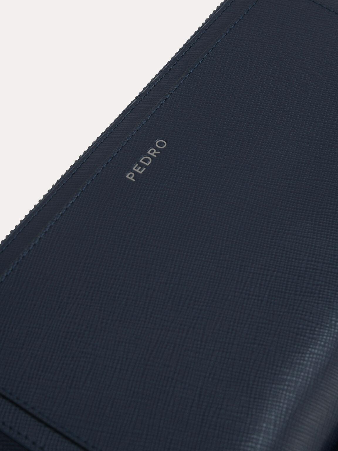 Textured Leather Travel Organiser, Navy, hi-res