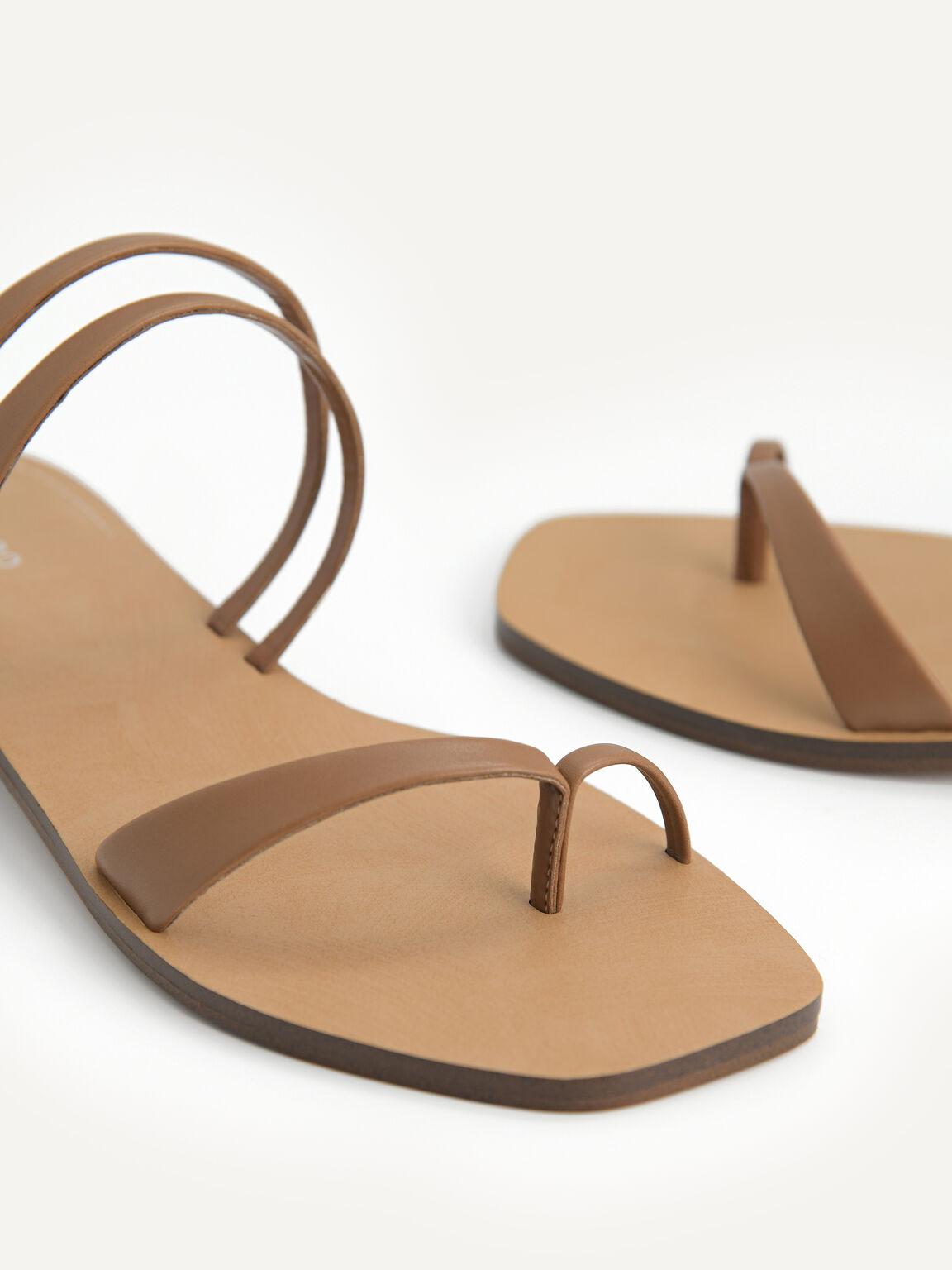 Strappy Toe Loop Sandals, Brown, hi-res