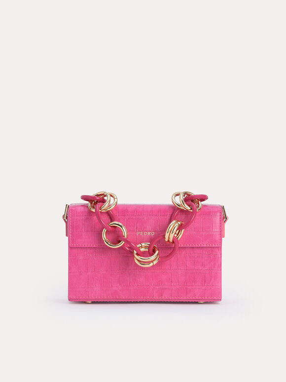 Croc-Effect Boxy Shoulder Bag, Fuchsia, hi-res