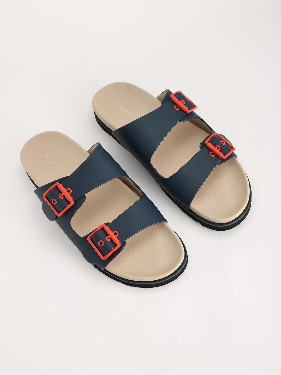 Colourblock Buckled Sandals, Navy, hi-res