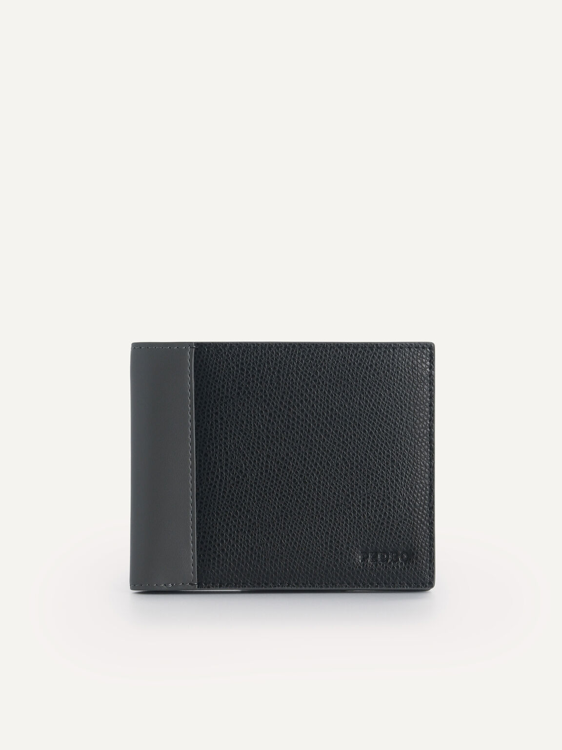 Textured Leather Bi-Fold Wallet with Flip, Black, hi-res