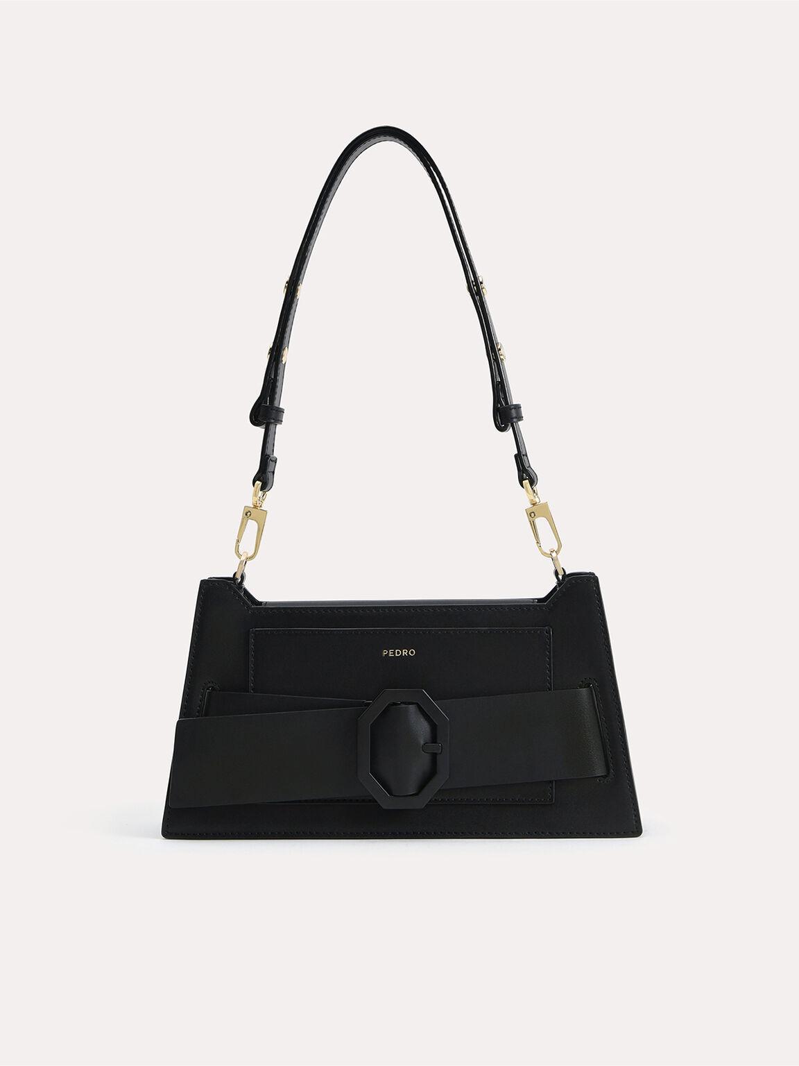 Octagon Buckled Leather Shoulder Bag, Black, hi-res