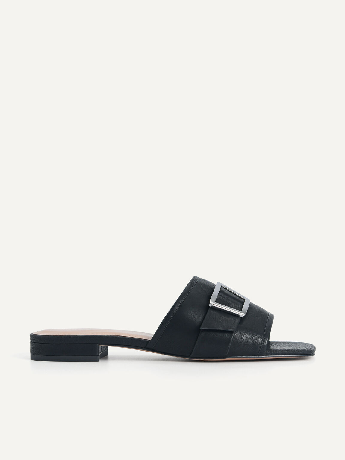 Buckle Slide Sandals, Black, hi-res