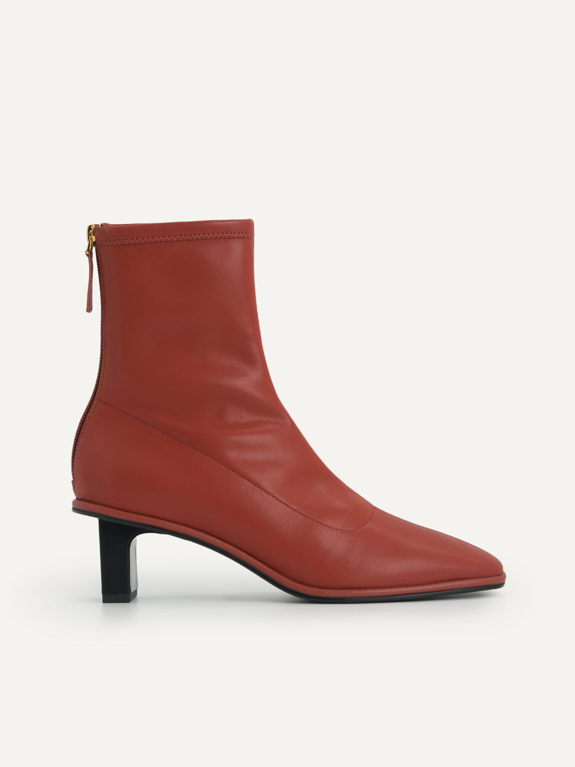 Heeled Ankle Boots, Brick, hi-res
