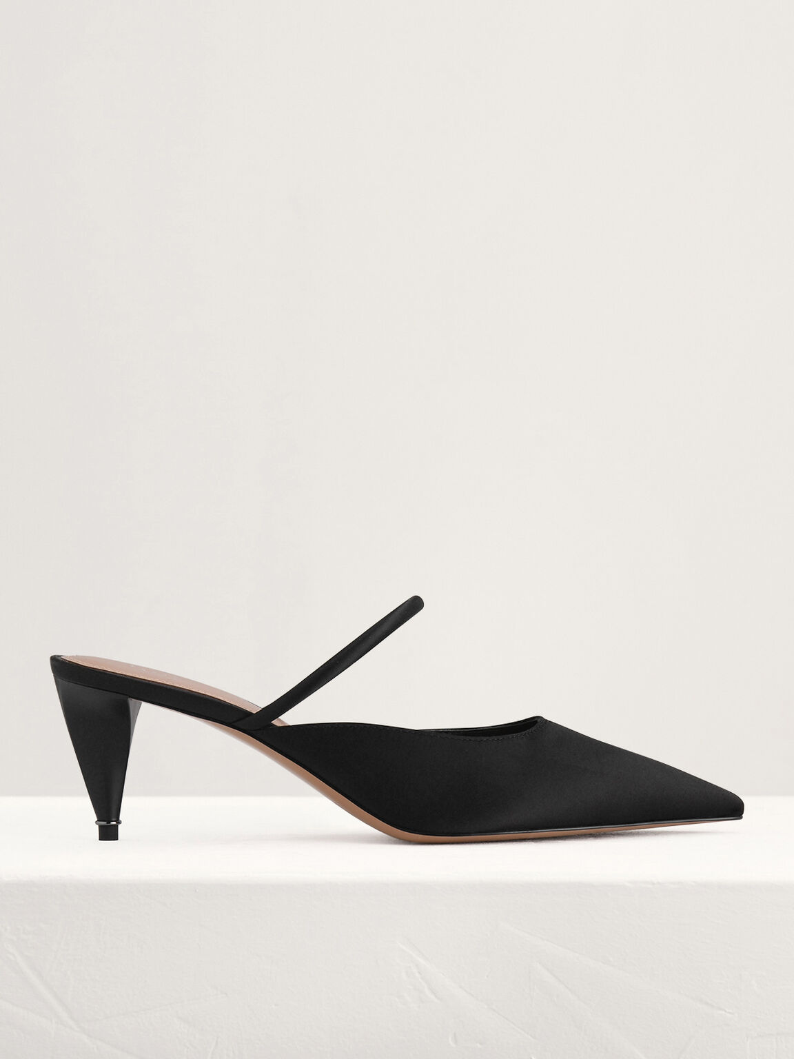 Satin Heeled Mules, Black, hi-res