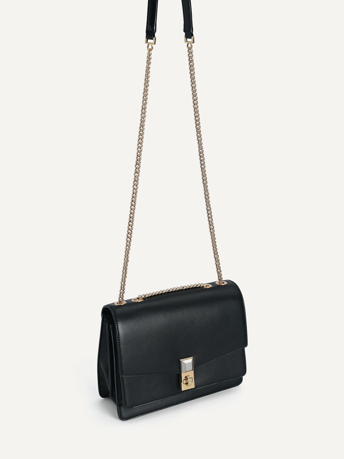 Tiered Shoulder Bag, Black, hi-res