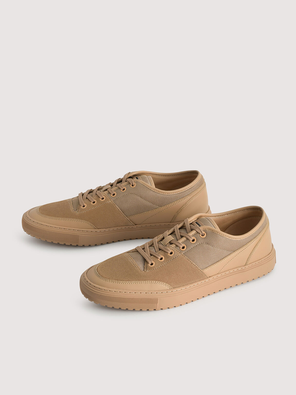 Mesh Lace-up Sneakers, Camel, hi-res