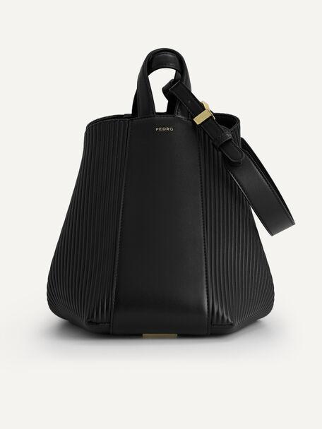 Faux Leather Hobo Bag, Black, hi-res