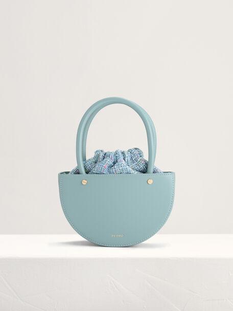 Tweed Top Handle Bag, Blue, hi-res