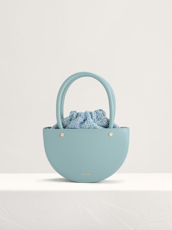 Tweed Top Handle Bag, Blue, hi-res